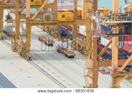 Container Cargo Freight Ship With Working Crane Loading Bridge In Shipyard At Dusk For Logistic Impo