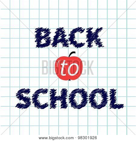 Back To School Chalk Text On Paper Sheet Background Exercise Book Flat Design