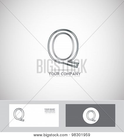 Letter Q Silver Wire Metallic Metal