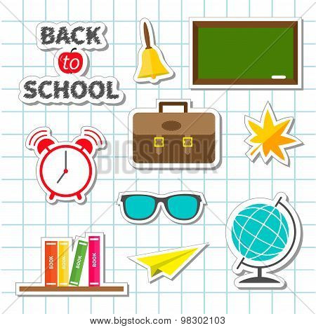 Back To School Icon Set Sticker Collection Green Board, Bell, Alarm Clock, World Globe, Glasses, Boo