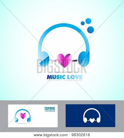 Music Headphones Logo Icon Love Heart
