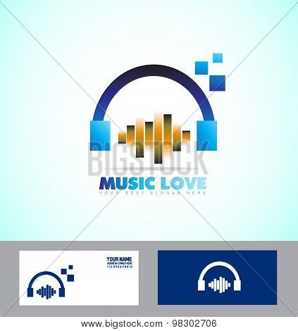 Music Volume Sound Headphones Icon Logo