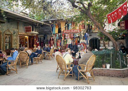 ISTANBUL - NOVEMBER 4:Oriental coffee house in Astarci Hani courtyard of Istanbul Grand Bazaar on No