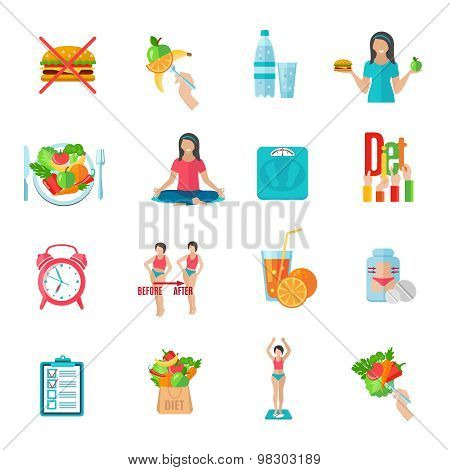 Weight loose diet flat icons set