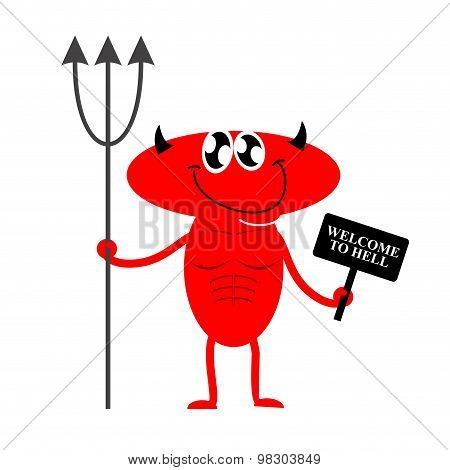 Welcome To Hell. Cute Red Devil Holding A Sign And Trident. Devil Invites You To Hell. Vector Illust