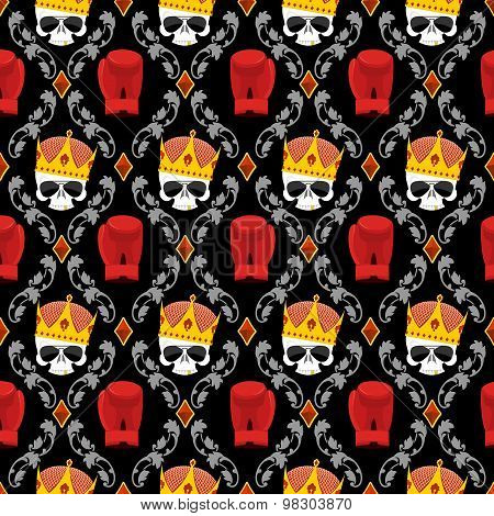 Skull Crown And Boxing Gloves With Baroque Elements Seamless Pattern. Background For A Street Gang O