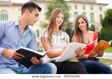 Outdoor portrait of three students studying in a park