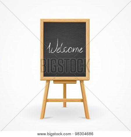 Black Board on Easel Front View Vector