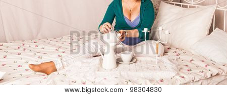 Pregnant Woman Drinking Hot Drink