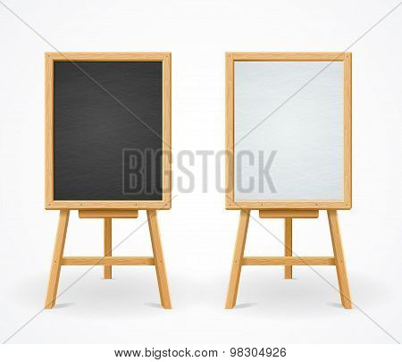 Black Board and White Set On Easel Front View Vector