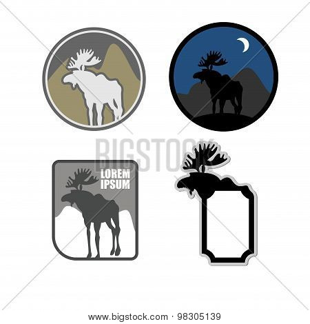 Set Of Icons Logo Moose. Emblem For Hunters Or For Natural Park With Wild Animals. Vector Illustrati