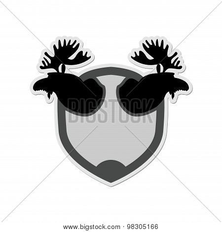 Logo Moose Head On A Shield. Emblem For  Hunting Club. Vector Illustration