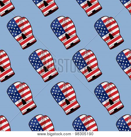 Boxing Glove With Flag Of America Seamless Pattern. Sporty Accessory For Patriots. Vector Background