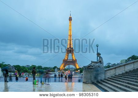 Paris, France - May 13, 2015: Eiffel Tower. View From Esplanade Du Trocadero.