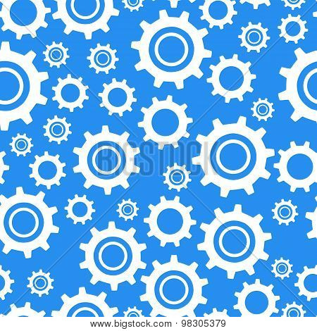 Many different types cogwheel, white icons on blue background seamless pattern