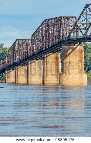 a detail of The Old Chain of Rocks bridge and historic water (intake) tower on the Mississippi River near St Louis