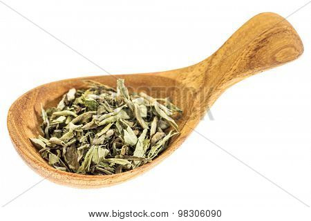 stevia dried leaves on wooden spoon isolated on white - natural sweetener, sugar substitute