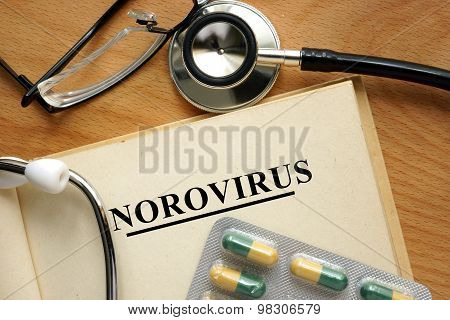 Word Norovirus  on a paper and pills.