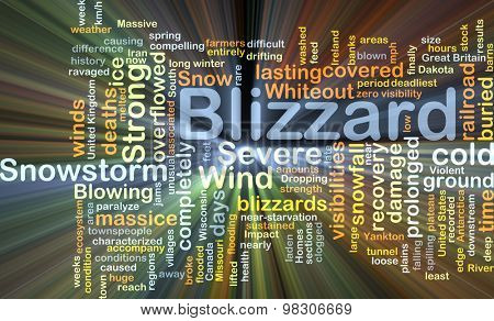 Background concept wordcloud illustration of blizzard glowing light