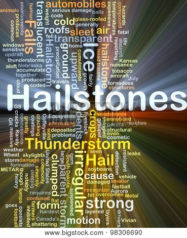 Background concept wordcloud illustration of hailstones glowing light
