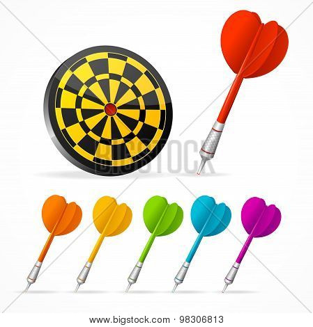 Set of colored Darts and target. Vector