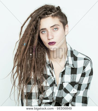 real caucasian woman with dreadlocks hairstyle funny cheerful faces on white