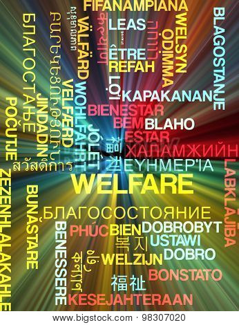 Background concept wordcloud multilanguage international many language illustration of welfare glowing light