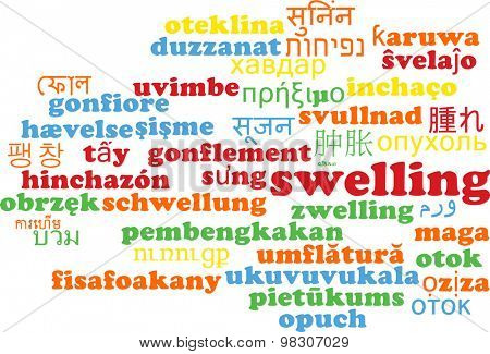 Background concept wordcloud multilanguage international many language illustration of swelling