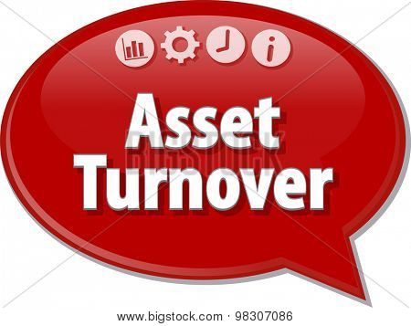 Speech bubble dialog illustration of business term saying Asset Turnover