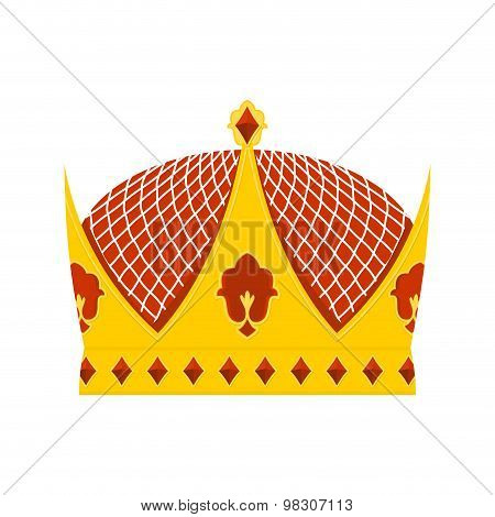 Golden Royal Crown With Precious Stones On A White Background. Hat For  King. Vector Illustration Ro