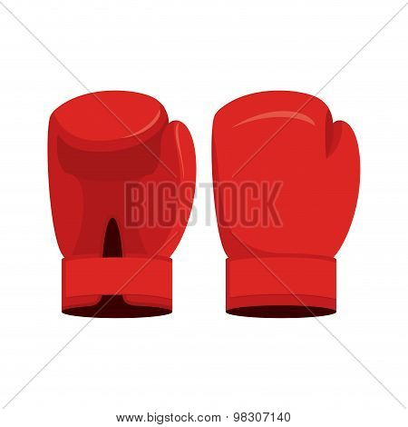 Red Boxing Gloves On A White Background. Sports Accessory Vector Illustration