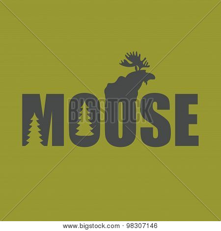 Logo, Emblem Moose Silhouette With Text. Wild Animal Vector Illustration