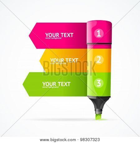 Marker highlighter option banner. Vector