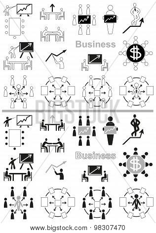 Business Icons Negotiating Table And Graph