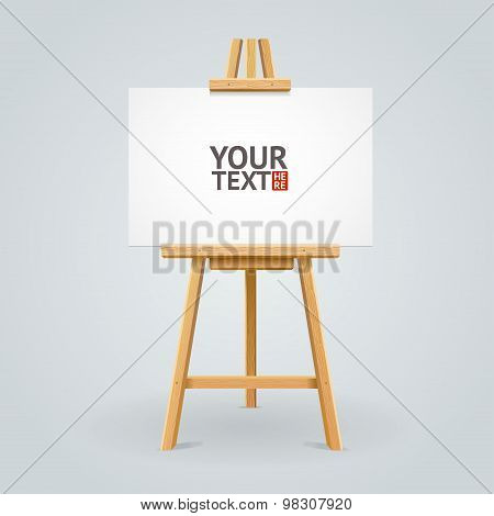 Wooden easel. Vector