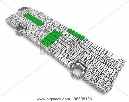 3D Group Of Green White Words Shaping A Passenger Bus