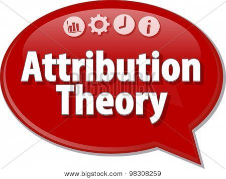 Speech bubble dialog illustration of business term saying Attribution Theory