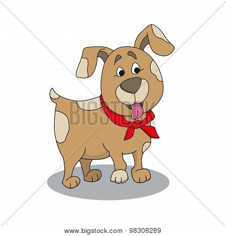 Cute Dog With Red Bandanna