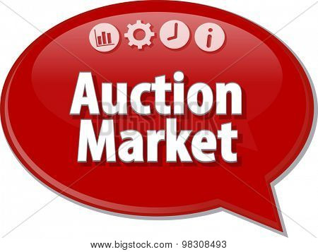 Speech bubble dialog illustration of business term saying Auction Market