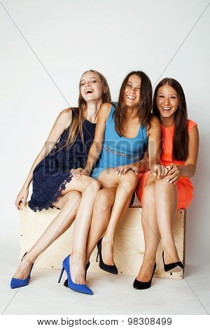 many girlfriends hugging celebration on white background, smiling talking chat