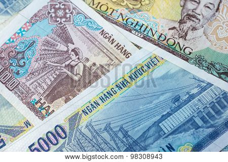 Background From Banknotes. Vietnamese Dong