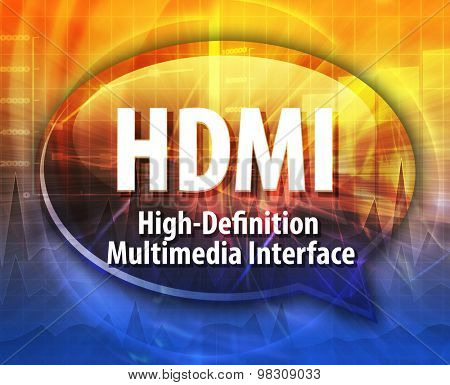 Speech bubble illustration of information technology acronym abbreviation term definition HDMI High Definition Multimedia Interface