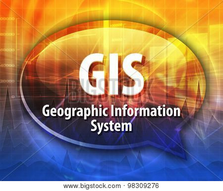 Speech bubble illustration of information technology acronym abbreviation term definition GIS Geographical Information System