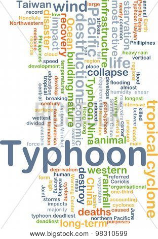 Background concept wordcloud illustration of typhoon