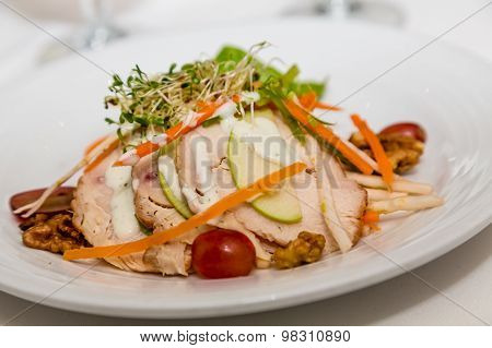 Sliced Chicken Breast With Vegetables And Dressing
