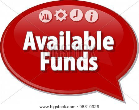 Speech bubble dialog illustration of business term saying Available Funds