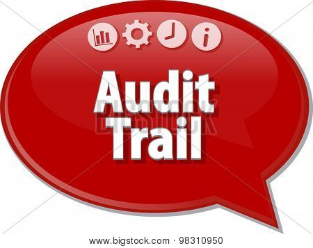Speech bubble dialog illustration of business term saying Audit Trail Finance
