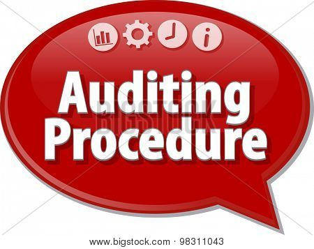 Speech bubble dialog illustration of business term saying Auditing Procedure Finance