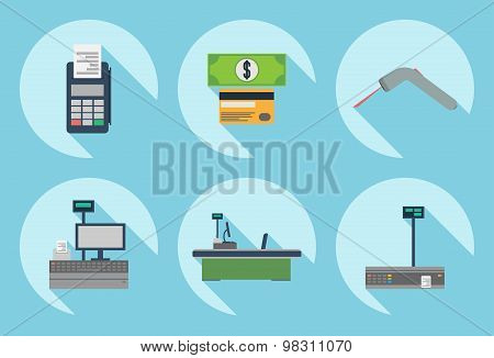 Cash desk. Cashier place. Cash machine. Cash register. Cash desk vector illustration. Cash register icon. Cash machine icon. Supermarket cash desk sign. Cash desk elements. Flat design style. Store.