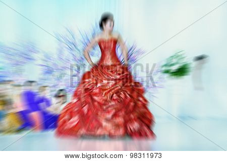 Abstract Background - Fashion Models On Catwalk - Radial Zoom Blur Effect  Filter Applied